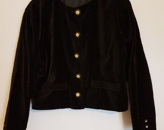 Vintage 1980s cropped black velvet trophy Jacket Blazer