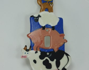 Vintage Ceramic Switchplate Switch Plate Light Switch Hand Crafted Hand Made Hand Painted Farm Animals Farmhouse Decor