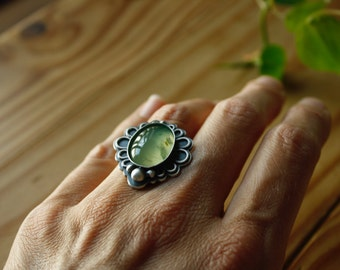 Silver Prehnite Ring—Efflorescence Floral Prehnite Statement Ring—Finished In Your Size