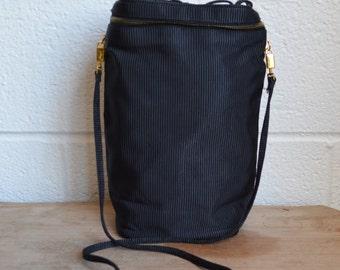 1980s Ferragamo Purse Salvatore Ferragamo Handbag Man Bag Shoe Bag Tall Black Purse with Ferragamo Tag Black Faille Fabric Bag