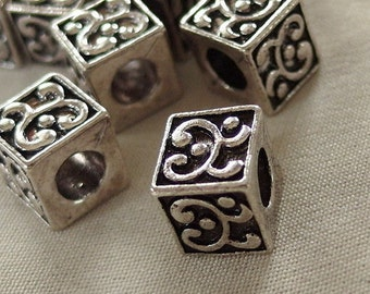 Silver with Black Antiquing Swirl Pattern large hole Cube beads, 9mm x 9mm, hole diameter 5mm, package of 10