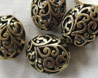 6pc - Antiqued Bronze Alloy Metal Scroll Pattern Hollow Oval Spacer Beads, 18mm x 15mm, 10mm thick, package of 6