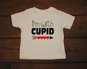 Boy Girl Valentines Shirt I'm With Cupid Red Hearts Vday Shirt -- YOUTH sizes