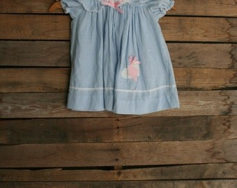 Vintage Children's Blue & White Pinstripe Dress with Kites by Carters 2T