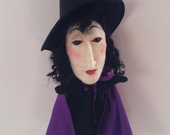 Needle Felted Halloween Witch Puppet