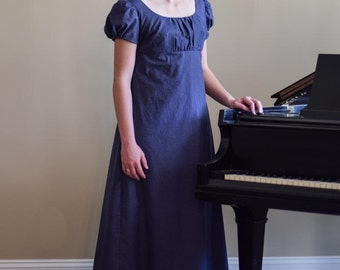Cotton Regency Gown, Reenactment, Costume, Twill Navy, Size Misses Size 8