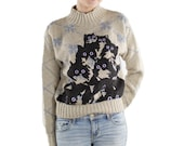 Bow Pattern Crazy Kitty Sweater