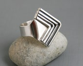 """Silver """"Arrows"""" Ring Geometric Triangle Style Modern Edgy Open Wrap Design One of a Kind - Adjustable"""