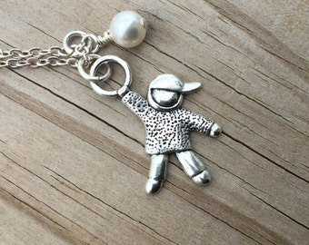 Mother of Sons Necklace -Little Boy Charm with an accent bead in your choice of colors