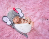 Crochet Baby Elephant Earflap Hat - Newborn to 10 years - Heather Grey and White - MADE TO ORDER
