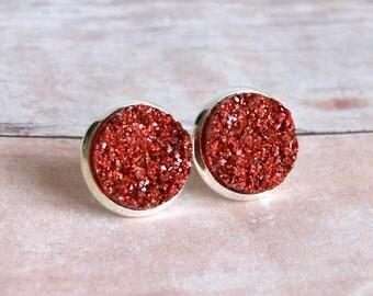 red druzy earrings, druzy post, stud, 12mm, silver post earrings