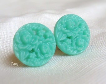 """Jade Floral Plugs for Gauged Ears Sizes 5/8"""", 9/16"""", 1/2"""", 00g, 0g, 2g, 4g , 6g, Regular earrings, Choose Your Color"""