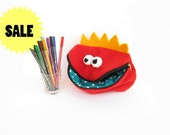 Red monster zipper pouch for boys Back to school Monster pouch Pencil case - READY TO SHIP