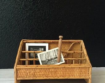 vintage mid century wicker rattan office organizer / bamboo paper storage file