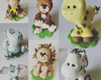 Cake Topper Jungle Animals Baby Shower or Birthday Choice of ONE Cake Topper Lion Giraffe Elephant Hippo Tiger Zebra Monkey  Custom Keepsake