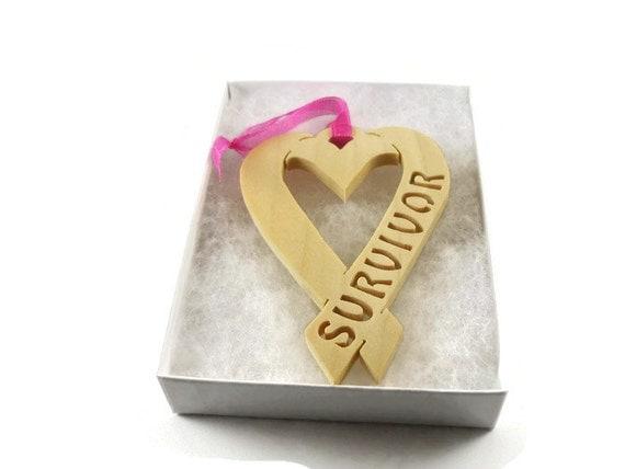 Survivor Heart Shape Ribbon Handmade From Poplar Wood By KevsKrafts