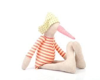 Linen SMALL bird rag doll - plush baby chick duck- Handmade doll - Stuffed toy - plush doll - Cloth Doll - Fabric Doll - Stuffed bird doll