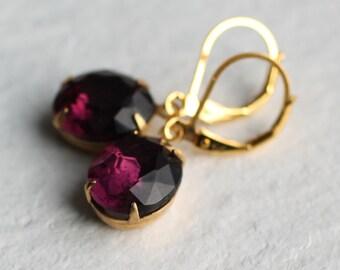 Amethyst Purple Oval Earrings .. February Birthstone Vintage Jewel Earrings
