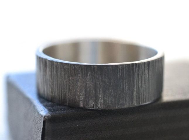 Oxidized Tree Bark Ring Custom Engraving Wedding Ring Black