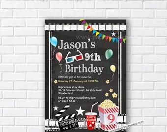 Movie Party Invitation, Movie Night Birthday Invitation, chalkboard Movie party invitation any age 4th 5th 6th 7th 8th 9th 10th - card 427