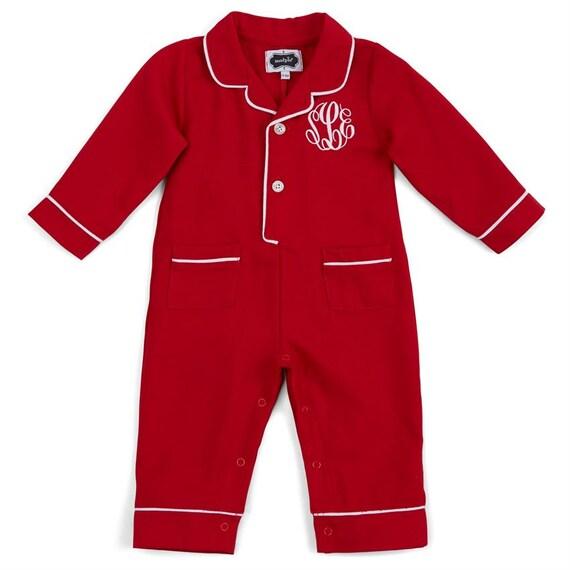 Infant Christmas pajamas monogrammed Christmas pjs baby boy