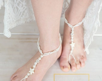 Starfish Barefoot Sandals,Foot Jewelry,Barefoot Starfish Sandals,Bridal Pearl Boho Anklet,Footless,Bridesmaid Gift,Beach Bride,BANU design