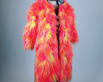 60's Psychedelic Neon Hooded Shaggy Pink, Yellow and Orange Faux Fur Coat // S - M