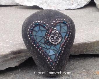 Blue  Anchor / Heart -Mosaic / Garden Stone