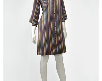 Vintage Striped Dress 70s Dress Shirt Dress Mod Dress Collar Button Dress Up Mini Dress Black White Gold Teal Purple 1970s Dress Shirtdress