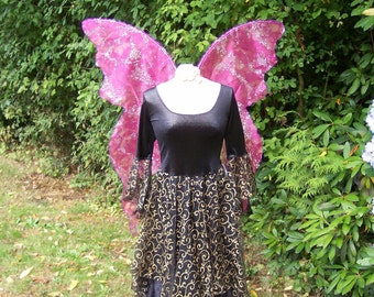 READY MADE Lifesize HoT PiNK Glittery Swirls Costume Festival Fairy WINGS Sexy Nymph adult l dress up goddess wicca Beltaine May Day Cosplay