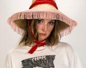 Vintage 1950's 60's Pink Fringe Straw Beach Hat Women's One Size Retro/Hip/Mod