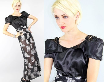 Maxi Dress Vintage 30's 40's Crodhet Sateen SHEER Brocade FEATHERS Floor Lenght  // Dresses by TatiTati Style on Etsy