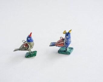 Pair of Rustic Small Bird Charms Ethnic Folk Art Whimsical Boho Bohemian Decor