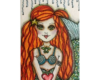 CHLOE, red head mermaid, Mermaid art, Romance, Whimsical, mixed media art, children's room, mixed media print, mixed media, Alicia J Hayes