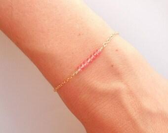 Pink Topaz Bracelet in Gold - Bar Bracelet