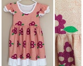 Coral Hmong print dress for girls