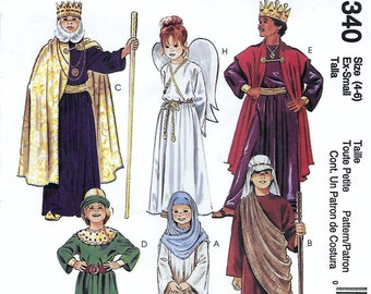 McCall's 2340 Child's Nativity Costume Sewing Pattern Shephard King Wiseman Angel Mary Joseph Size 4 to 6  Breast Chest 23 to 25