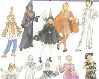 Simplicity 4860 Child's Costume Pattern Wizard Grim Reaper Bride of Frankenstein Princess Witch Fairy Wench Clown Chest Breast 26 to 32