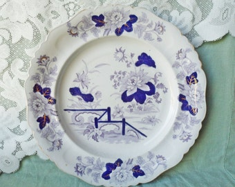 "Antique 1810 Hicks & Meigh Stone China 10.25"" Plate  - Flow Blue Purple Floral transfer Staffordshire"