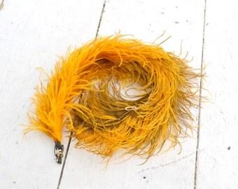 Victorian Bright Golden Yellow Ostrich Plume
