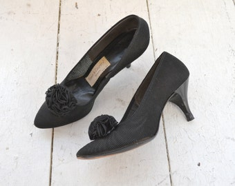 1950s Town and Country Black Sheer Heels, Size 6