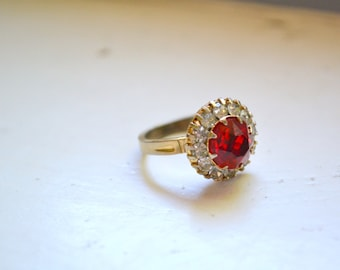 1960s Red and Clear Rhinestone Ring