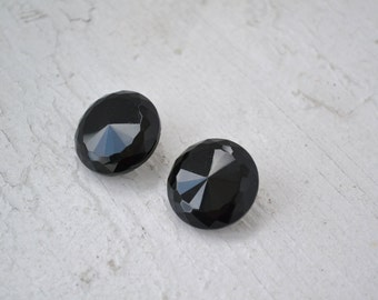 1950s Faceted Black Glass Clip Earrings