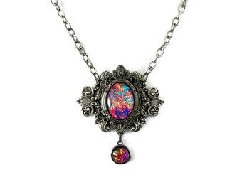 Rainbow Inferno Glass Opal Edwardian Oval Filigree Necklace