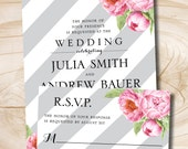 Watercolor Floral Peony Grey Stripe Wedding Invitation and Response Card - Digital Design Files