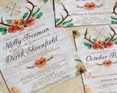 NEW! Floral Antlers Wedding Invitation set. Watercolor antlers wedding invitations. Hunting woodlands wedding