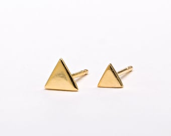 2 Triangle Earrings SET, Sterling Silver Gold Plated Post Earrings, Geometric Stud Earrings, Minimalist Lunaijewelry, Gift for her, COM004