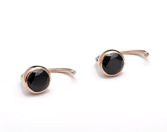 Black Spinel Hug Hoops, Sterling Silver & Gold Plated, Gemstone Earrings, Open Hoops, Minimalist Jewelry, Hand Made Gift, EAR041