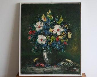 Vintage Original Floral in Vase Still Life Acrylic Painting