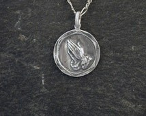 Sterling Silver Praying Hands with Prayer on back Pendant on a Sterling Silver Chain
